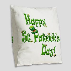 Happy St. Patricks Day Burlap Throw Pillow