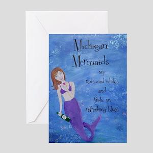 Michigan Mermaids wine Greeting Card