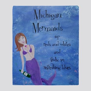 Michigan Mermaids wine Throw Blanket