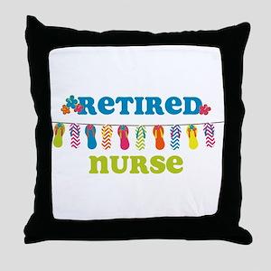 Flip Flops Retired Nurse Throw Pillow