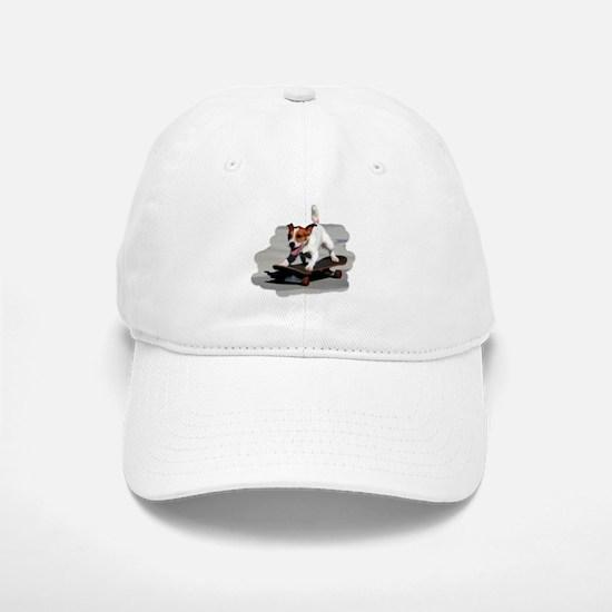 Jack Russel Terrier on Skateboard Baseball Baseball Cap