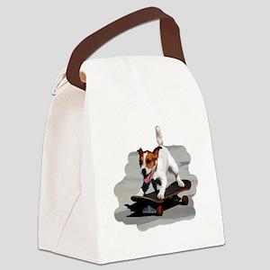 Jack Russel Terrier on Skateboard Canvas Lunch Bag