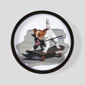 Jack Russel Terrier on Skateboard Wall Clock