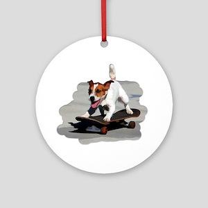 Jack Russel Terrier on Skateboard Ornament (Round)