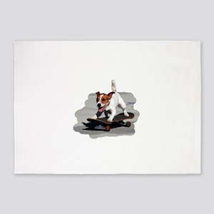 Jack Russel Terrier on Skateboard 5'x7'Area Rug