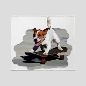 Jack Russel Terrier on Skateboard Throw Blanket