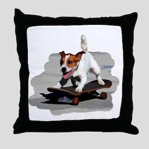 Jack Russel Terrier on Skateboard Throw Pillow