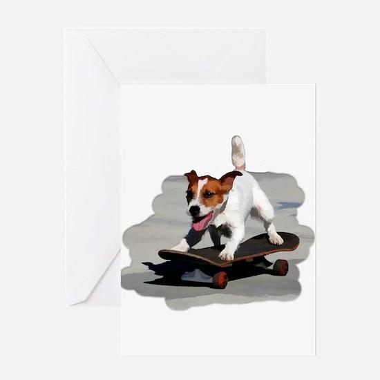 Jack Russel Terrier on Skateboard Greeting Cards