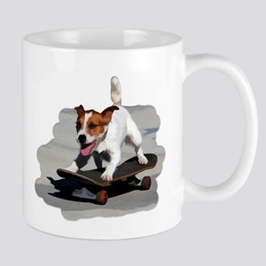 Jack Russel Terrier on Skateboard Mugs