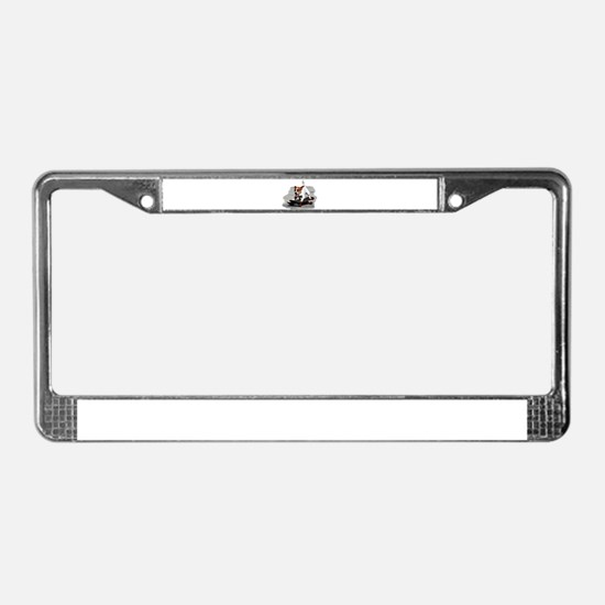 Jack Russel Terrier on Skatebo License Plate Frame