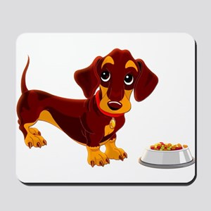 Dachshund Puppy with Food Bowl Mousepad