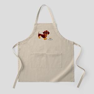 Dachshund Puppy with Food Bowl Apron