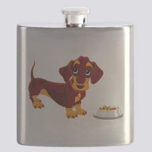 Dachshund Puppy with Food Bowl Flask