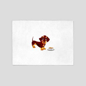 Dachshund Puppy with Food Bowl 5'x7'Area Rug