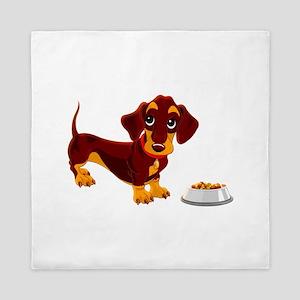 Dachshund Puppy with Food Bowl Queen Duvet