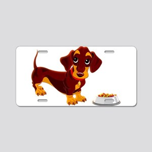 Dachshund Puppy with Food B Aluminum License Plate