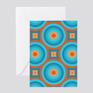 Orange and Blue Mid Century Modern Greeting Cards