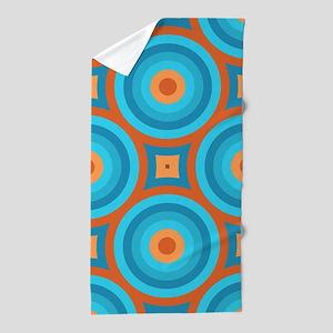 Orange And Blue Mid Century Modern Beach Towel