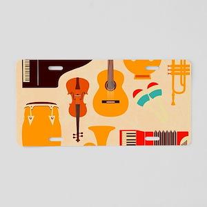 Mid Century Musical Aluminum License Plate