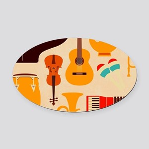 Mid Century Musical Oval Car Magnet