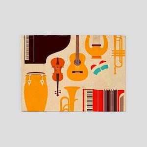 Mid Century Musical 5'x7'Area Rug