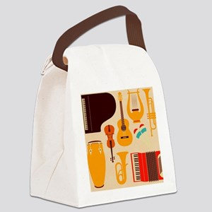 Mid Century Musical Canvas Lunch Bag