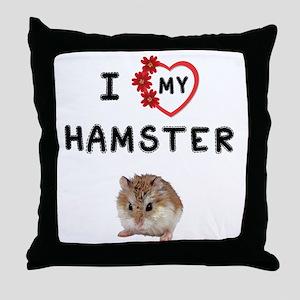 Love My Hamster Throw Pillow