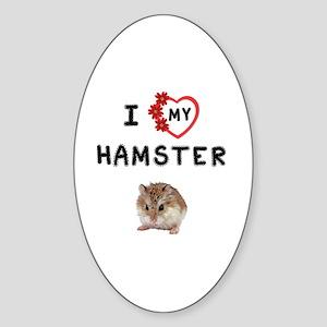 Love My Hamster Sticker (Oval)