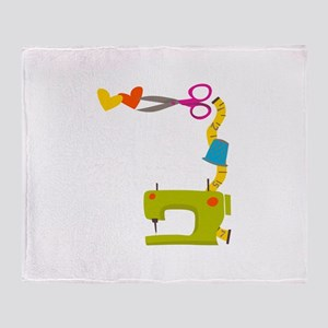 SEWING MACHINE CORNER Throw Blanket