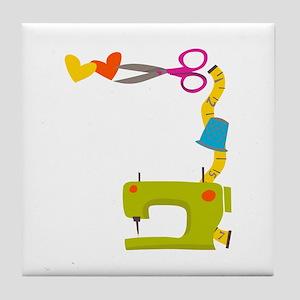 SEWING MACHINE CORNER Tile Coaster