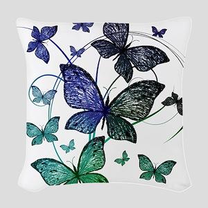 Butterflies Woven Throw Pillow