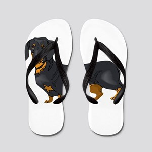 Black and Tan Dachshund Flip Flops
