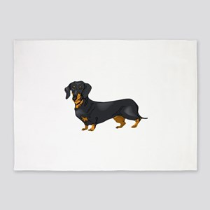 Black and Tan Dachshund 5'x7'Area Rug