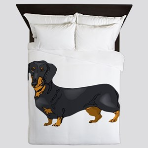 Black and Tan Dachshund Queen Duvet