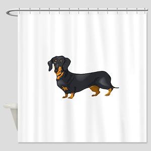 Black and Tan Dachshund Shower Curtain