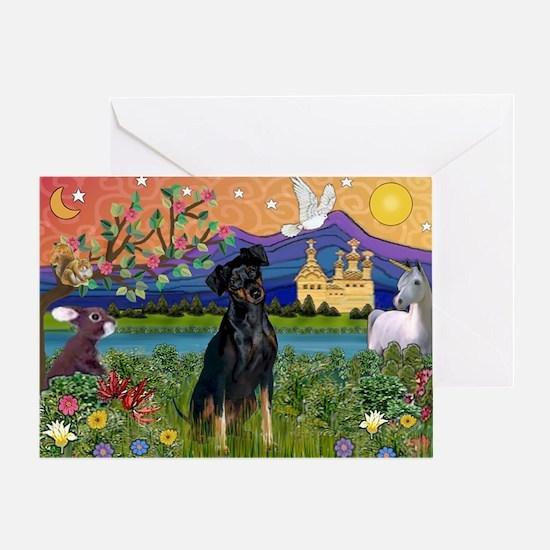 Fantasy Land & Min. Pinscher Greeting Card