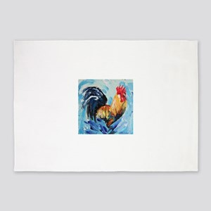 Rooster blue 5'x7'Area Rug