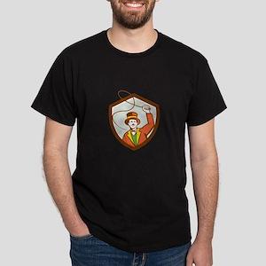 Circus Ring Master Bullwhip Shield Retro T-Shirt