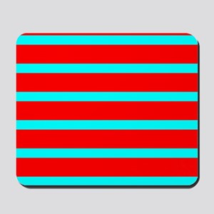 Turquoise Blue Red Stripes for Angela Mousepad