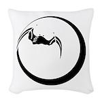 Moon and Bat Woven Throw Pillow