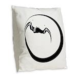 Moon and Bat Burlap Throw Pillow