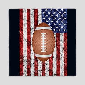 Football on american flag Queen Duvet