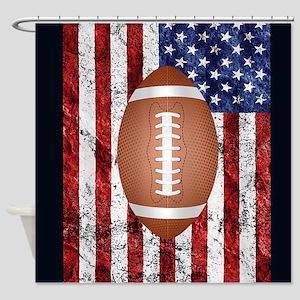 Football on american flag Shower Curtain