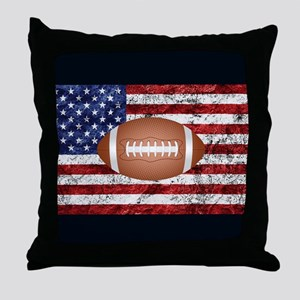 Football on american flag Throw Pillow