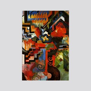 Macke - Colored Composition Rectangle Magnet