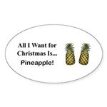 Christmas Pineapple Sticker (Oval 10 pk)