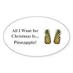 Christmas Pineapple Sticker (Oval 10 pk)
