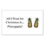 Christmas Pineapple Sticker (Rectangle 50 pk)