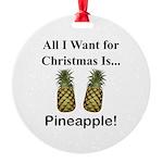 Christmas Pineapple Round Ornament