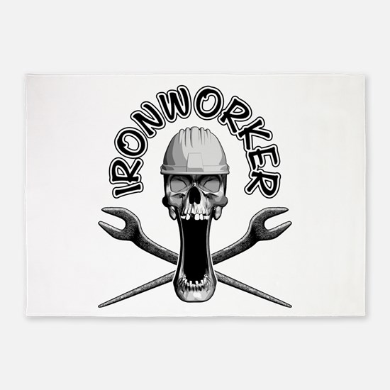 Ironworker Skull 5'x7'Area Rug